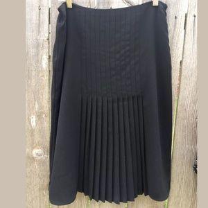 LRL Sz 6 Black Pleated Midi Skirt Career